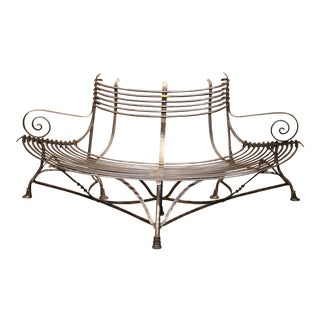 French Polished Iron Curved Around the Tree Shaped Garden Bench Signed Sauveur For Sale