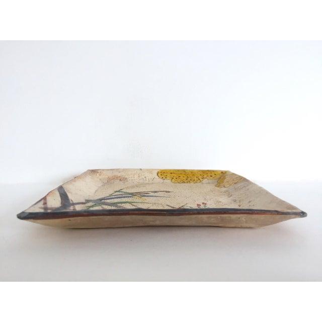 Ceramic Vintage Mid Century Japan Studio Art Pottery Square Pressed Hand Painted Artisan Ceramic Plate Dish For Sale - Image 7 of 11