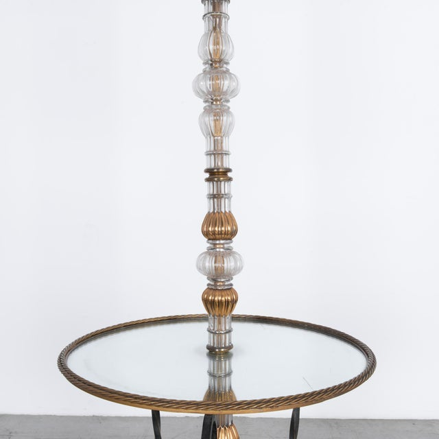 Traditional 1940s Belgian Glass and Iron Floor Lamp For Sale - Image 3 of 5