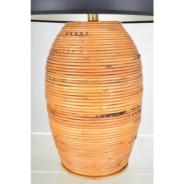 Contemporary Large Rattan Lamp With Shade For Sale - Image 3 of 8