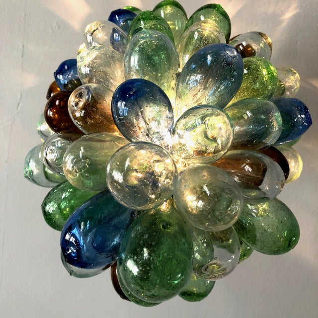 Blue Colorful Balloon Shape Handblown Glass Light Fixture For Sale - Image 8 of 9
