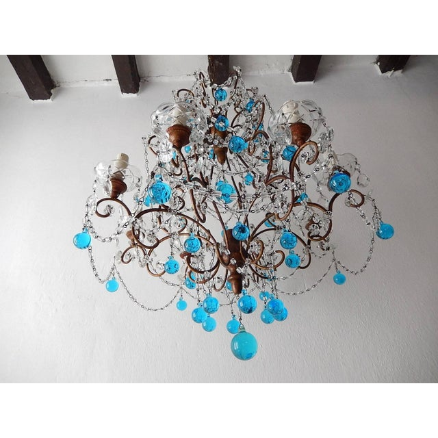 French Blue Murano Balls Beaded Swags Chandelier, circa 1900 For Sale In Los Angeles - Image 6 of 13