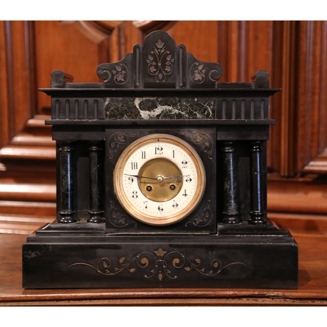 19th Century French Napoleon III Black and Green Marble Mantel Clock With Inlay For Sale - Image 4 of 8