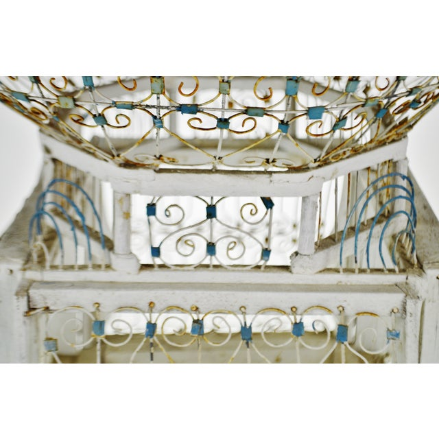 Paint Antique French Victorian Dome Top Wire Bird Cage For Sale - Image 7 of 13