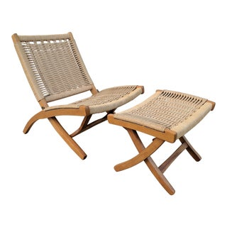 Mid Century Modern Hans Wegner Style Folding Chair and Ottoman