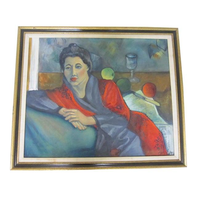 Gallant Modernist Portrait of a Woman Painting For Sale
