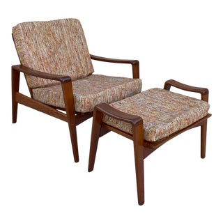 1960s Danish Modern Teak Easy Lounge Chair and Ottoman by Arne Wahl Iversen for Komfort For Sale