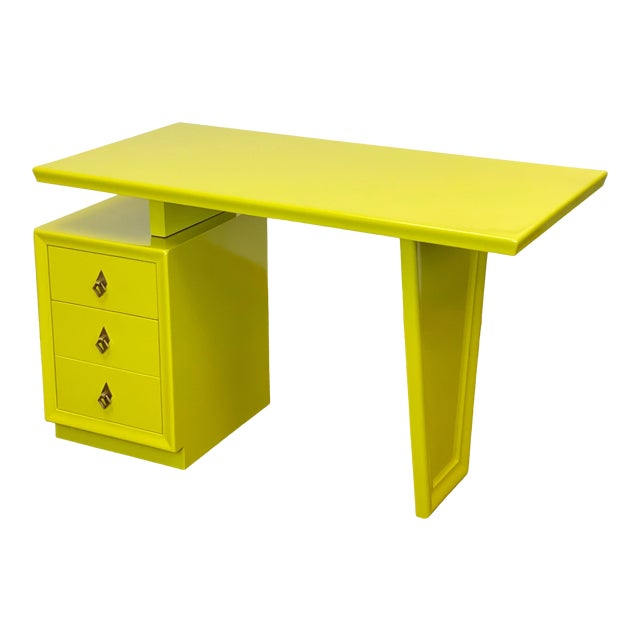1920s Vintage Art Deco Lacquered Green Desk For Sale