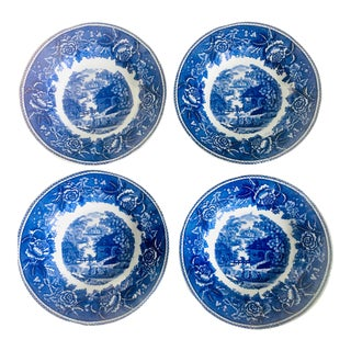 Blue + White Finnish Delft Style Bowls by Arabia - Set of 4 For Sale