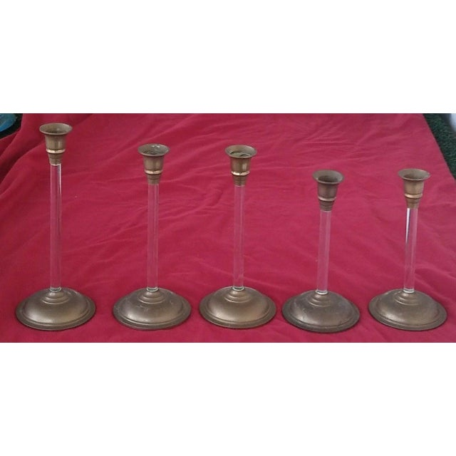 Set of 5 Brass and Acrylic Lucite Graduated Tulip Vintage Candle Stick Holders - Image 4 of 4