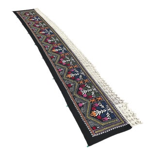"Vintage Suzani Table Runner / Tapestry - 12'9"" x 2' For Sale"