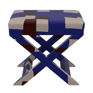 X Bench in Blue Quilt For Sale