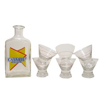French Bistro Carafe & Six Glasses For Sale
