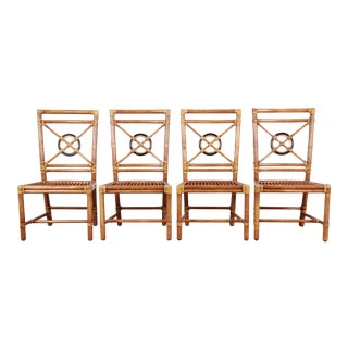 "McGuire Hollywood Regency Rattan ""Target"" Dining Chairs -Set of 4 For Sale"