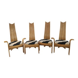 Mid Century Modern Vintage Rattan Dining Chairs - Set of 4 For Sale