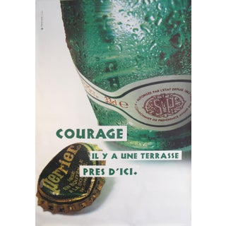 1990s French Perrier Advertisement, Courage Il Y a Une Terrasse Près d'Ici For Sale