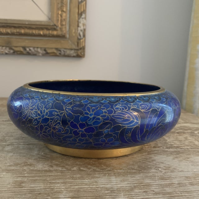 Metal Cobalt Blue Chinese Cloisonné Bowl For Sale - Image 7 of 7