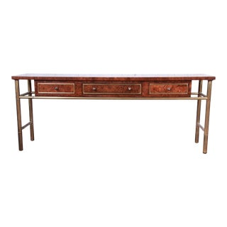 Mastercraft Hollywood Regency Chinoiserie Faux Bamboo Brass and Burl Wood Console Table, Newly Refinished For Sale