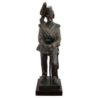 19th Century French Sculpture in Bronze Napoleonic Army Cavalry Soldier Figure For Sale