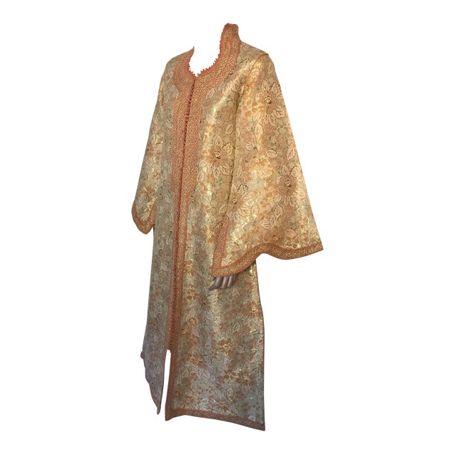 1970s Moroccan Caftan Gold Brocade Maxi Dress Kaftan For Sale