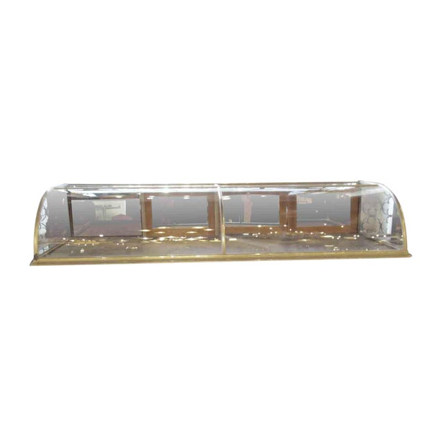 Antique Nickel & Glass Curved Front Display Case For Sale