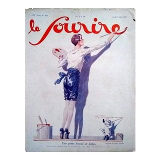 """H. Fournier 1927 """"Une Petite Femme De Lettres"""" Le Sourire Cover Print"""