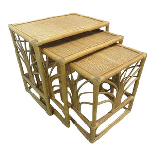 Vintage Rattan Bamboo Nesting Tables - Set of 3
