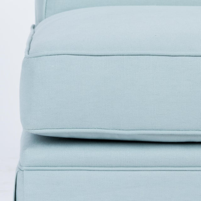 Not Yet Made - Made To Order Skirted Slipper Chair in Porcelain Blue Linen For Sale - Image 5 of 7