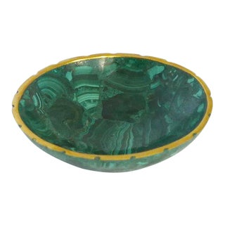 Small Brass Trimmed Vintage Malachite Dish For Sale