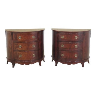Councill Craftsmen 1/2 Round Mahogany Commodes - A Pair For Sale