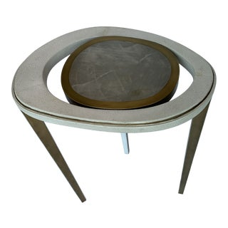 R & Y Augousti Cream Shagreen and White Quartz Peacock Side Table (M) For Sale