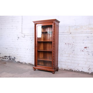 Antique English Carved Walnut Barley Twist Glass Front Bookcase, Circa 1900 Preview
