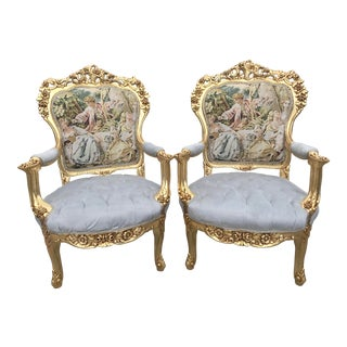 1960s Vintage Italian Baroque Style Chairs - A Pair For Sale