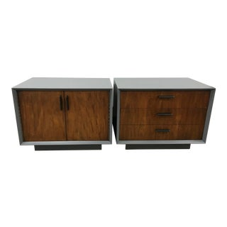 Midcentury Walnut and Grey Painted Nightstands by Lane - a Pair For Sale