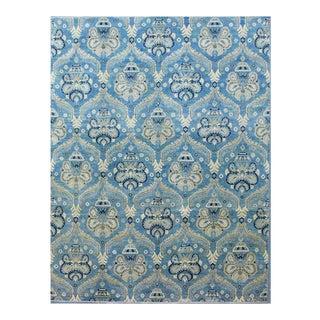 Afghan Kazak Blue Wool Rug - 7′10″ × 9′8″ For Sale