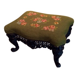 1930s Vintage Victorian Cast Iron Needlepoint Footstool For Sale