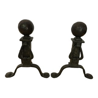 1920s Traditional Black Cast Iron Fire Dogs Andirons - a Pair For Sale