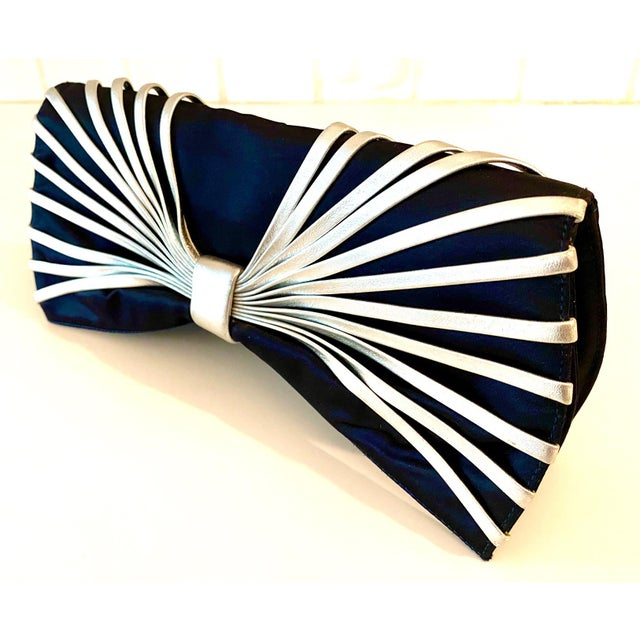 Navy Blue Rodo Navy Silk Clutch With Metallic Silver Leather Detail For Sale - Image 8 of 10