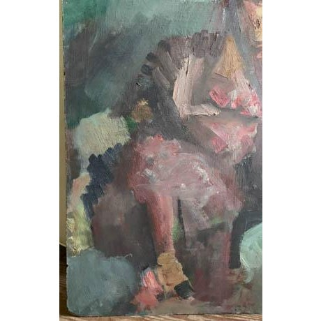 Paper Mid Century 1957 Painting - Two Paintings in One - Reclining Nude, Man's Portrait For Sale - Image 7 of 8