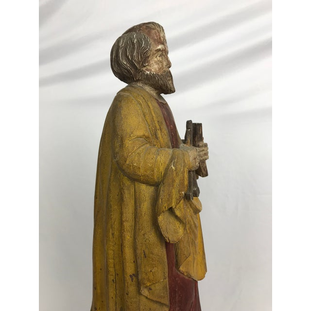 Mid 20th Century Vintage Carved Wood, Paint & Gesso Santos Statue For Sale - Image 5 of 9