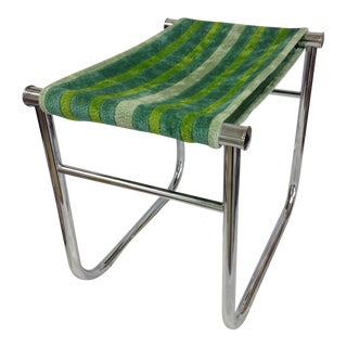 Le Corbusier by Cassina Lc/9 Chrome Low Stool For Sale
