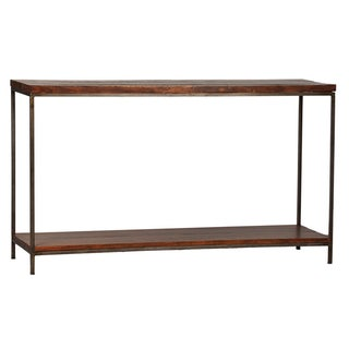 Reclaimed Wood and Steel Framed Console For Sale