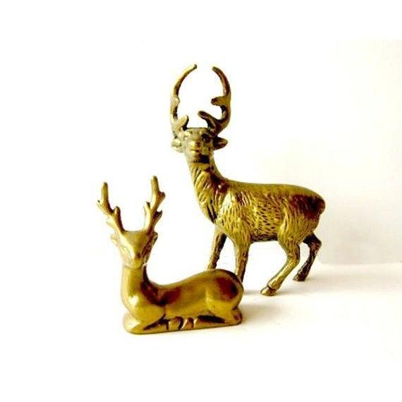 Hollywood Regency Brass Reindeer - Pair Deer - Image 2 of 6