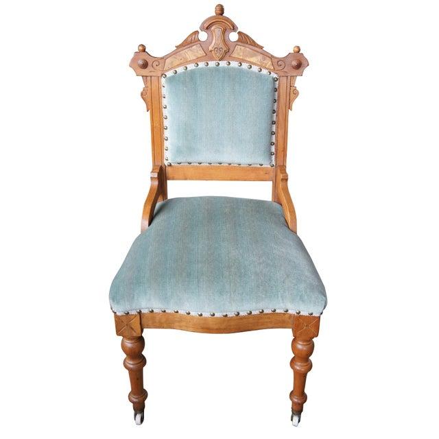 Gothic Antique Victorian Renaissance Revival Walnut Burl Parlor Accent Chair For Sale - Image 3 of 13