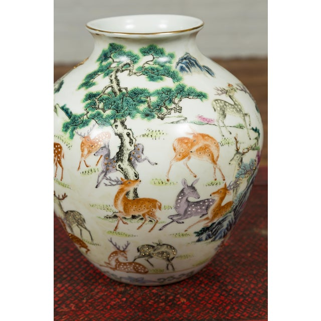 1920s Chinese Porcelain Vase with Gilt Accents, Deer and Mountain Motifs For Sale - Image 12 of 13