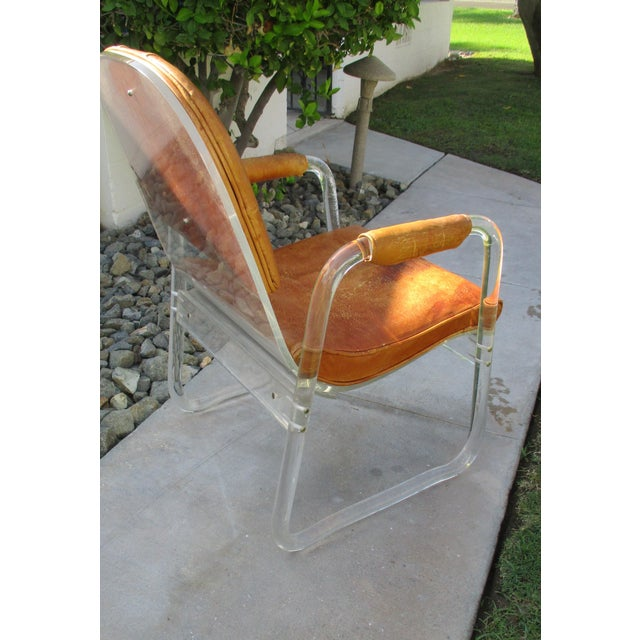 Brown Hill Manuf Lucite and Leather Club Chair - Custom Piece For Sale - Image 8 of 13