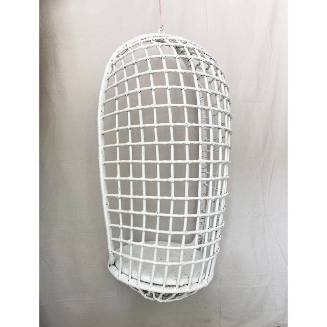 Wood Vintage Hanging Rattan Egg Chair For Sale - Image 7 of 13