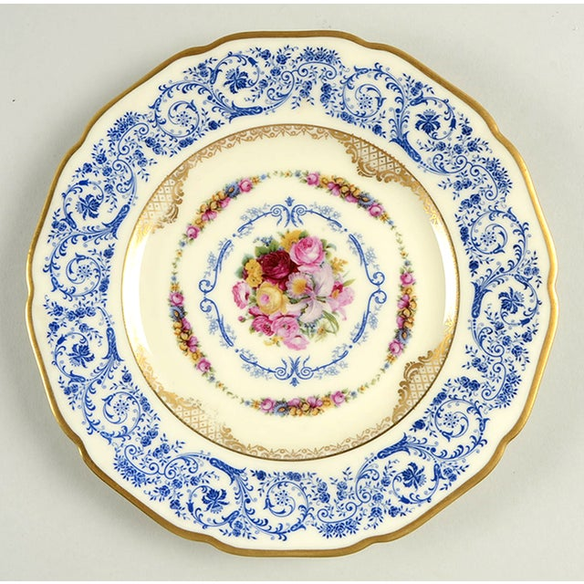 Black Knight Margarite Salad Plate S/8 features a detailed blue scroll rim design, floral bouquet center, delicate gold...