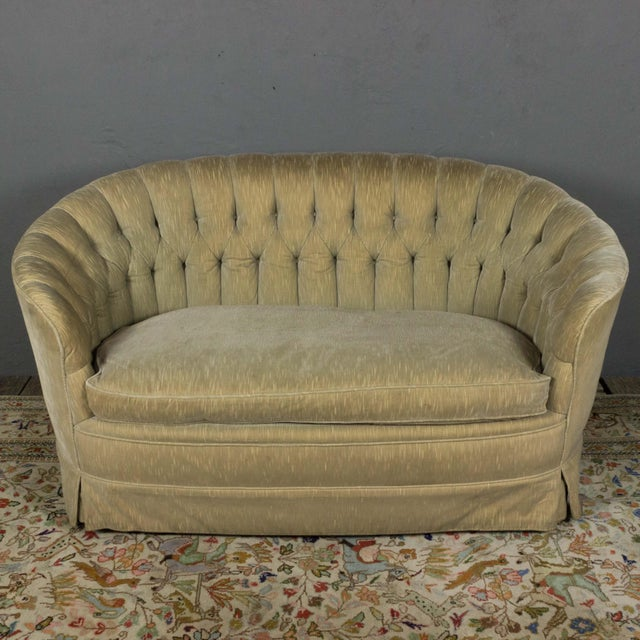 Mid-Century Modern Small Tufted Sofa With Loose Seat Cushion For Sale - Image 3 of 10