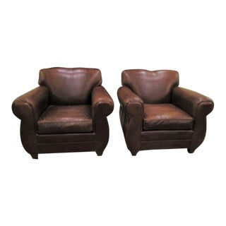 Restoration Hardware Vintage Style Mustache Leather Chairs - a Pair